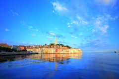 Old town of Rovinj, Croatia. The old town of Rovinj and reflection at early morning on the Adriatic Sea in Croatia Royalty Free Stock Photography