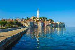 Old town of Rovinj, Istrian Peninsula, Croatia. Old town of Rovinj, panoramic view, Istrian Peninsula, Croatia stock photo