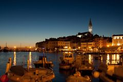 The old town in Rovinj at sunset Stock Photography