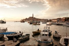 The old town Rovinj at sunset Royalty Free Stock Photo
