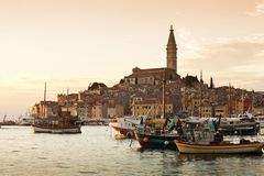 The old town Rovinj at sunset Stock Photography