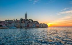 Old town of Rovinj at sunset, Istrian Peninsula, Croatia. Ancient town of Rovinj at sunset, Istrian Peninsula, Croatia stock photos