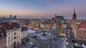 Old Town and Royal Castle in Warsaw Stock Images