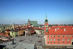 Old Town and Royal Palace in Warsaw. View of the Old Town in Warsaw from the viewtower of St. Anne's church Stock Photography