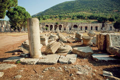 Old town and ruined defensive walls in Roman empire Ephesus city Royalty Free Stock Image