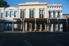 Old Town Sacramento. Restored historic buildings in the Old Town district of Sacramento, California with dramatic early morning light Stock Image