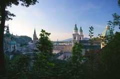 Old Town Salzburg, Austria in summer. Looking towards the north is this view of the primary buildings that make up the old town section of salzburg, Austria. The Royalty Free Stock Photos