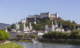 Old Town of Salzburg and Fortress Hohensalzburg. With view from the Salzach River, Salzburg, Austria royalty free stock images