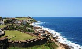 Old Town San Juan Panorama 2. Historic fort and ocean view, Old San Juan, Puerto Rico Stock Images