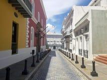 Old town San Juan, Puerto Rico. La Fortaleza Street royalty free stock photography