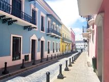 Old town San Juan, Puerto Rico. La Fortaleza Street Royalty Free Stock Images