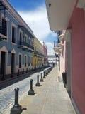 Old town San Juan, Puerto Rico. La Fortaleza Street royalty free stock photo