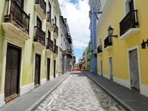Old town San Juan, Puerto Rico. Sunny Summer day stock images