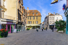 Old town scene in Auxerre Stock Images