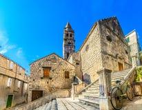Old town scenery in Dalmatia, Vis. stock image