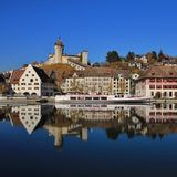 Old town Schaffhausen mirroring in the Rhine Royalty Free Stock Photography