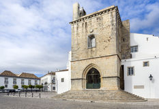 Old town Se Cathedral square in Faro, Portugal Stock Photo