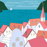 Old town on sea. City rooftop. Old western cityscape Concept. Old town on sea panoramic view. Building rooftops, blue sea, sky, white yach, green mountains. Red vector illustration