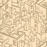 Old town seamless pattern Stock Photo