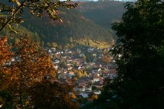 Old town seen through the woods stock image
