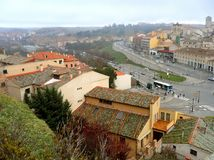 The old town of Segovia as seen from the Roman Aqueduct, Castile region Stock Images