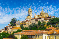 Old Town of Segovia and its Aqueduct. UNESCO World Heritageouple of the KIng penguins. Beautiful landscape of Segovia city, Spain stock photo