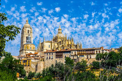 Old Town of Segovia and its Aqueduct. UNESCO World Heritageouple of the KIng penguins. Beautiful landscape of Segovia city, Spain stock photos