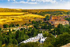 Old Town of Segovia and its Aqueduct. UNESCO World Heritageouple of the KIng penguins. stock photos