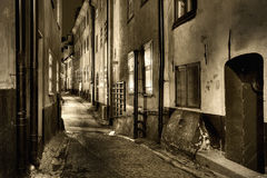 Old Town, sepiatoned. Sepiatoned image of an Old Town alley stock images
