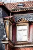 Old Town Series. Roof and dormers in old house with clapboards in Germany Stock Image