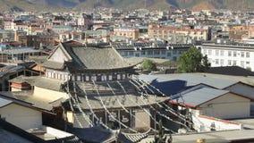 The old town of shangri-la , Yunnan China. The old town of shangri-la alias zhongdian take from golden temple ,Yunnan province China stock video