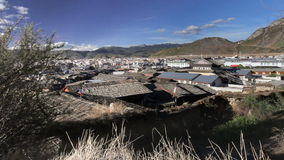 The old town of shangri-la , Yunnan China. The old town of shangri-la alias zhongdian take from golden temple ,Yunnan province China stock video footage