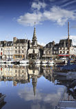 Old Town and Ships in Port at Honfleur Normandy France on Octobe Stock Photo