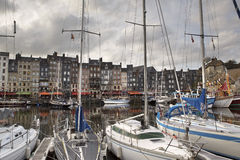 Old Town and Ships in Port at Honfleur Normandy France on Octobe Royalty Free Stock Photos
