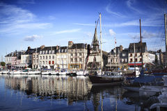 Old Town and Ships in Port at Honfleur Normandy France on Octobe Royalty Free Stock Photo