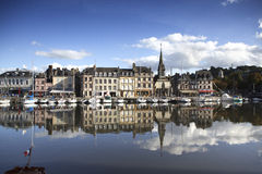 Old Town and Ships in Port at Honfleur Normandy France on Octobe Royalty Free Stock Photography