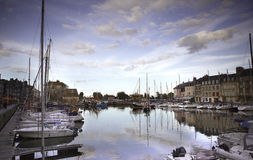 Old Town and Ships in Port at Honfleur Normandy France on Octobe Stock Photos