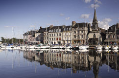 Old Town and Ships in Port at Honfleur Normandy France on Octobe Royalty Free Stock Images
