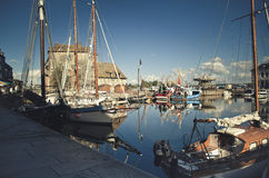 Old Town and Ships in Port at Honfleur Normandy France Stock Photography