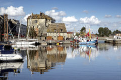 Old Town and Ships in Port at Honfleur Normandy France Stock Photos