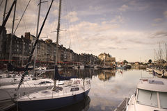 Old Town and Ships in Port at Honfleur Normandy France Royalty Free Stock Photography