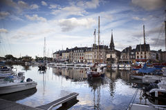 Old Town and Ships in Port at Honfleur Normandy France Royalty Free Stock Images