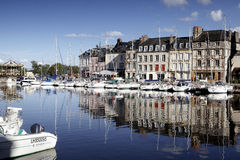 Old Town and Ships in Port at Honfleur Normandy France Royalty Free Stock Photos