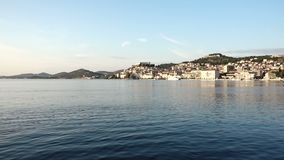 Old town of Sibenik, Croatia. Waterfront view from the sea stock video footage