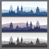 Old town silhouettes set. Seamless city skylines in different colors stock illustration