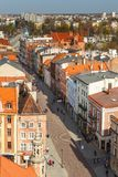 Old town skyline - aerial view from town hall tower, Torun, Poland. Torun, Poland- 05 April, 2014: Old town skyline - aerial view from town hall tower. The Royalty Free Stock Image