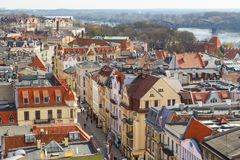 Old town skyline - aerial view from town hall tower, Torun, Poland. Torun, Poland- 05 April, 2014: Old town skyline - aerial view from town hall tower. The Stock Image