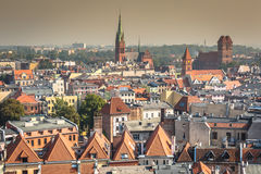 Old town skyline - aerial view from town hall tower. The medieva Royalty Free Stock Photography