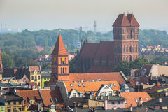 Old town skyline - aerial view from town hall tower. The medieva Stock Photography