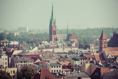Old town skyline - aerial view from town hall tower. The medieva Stock Photos
